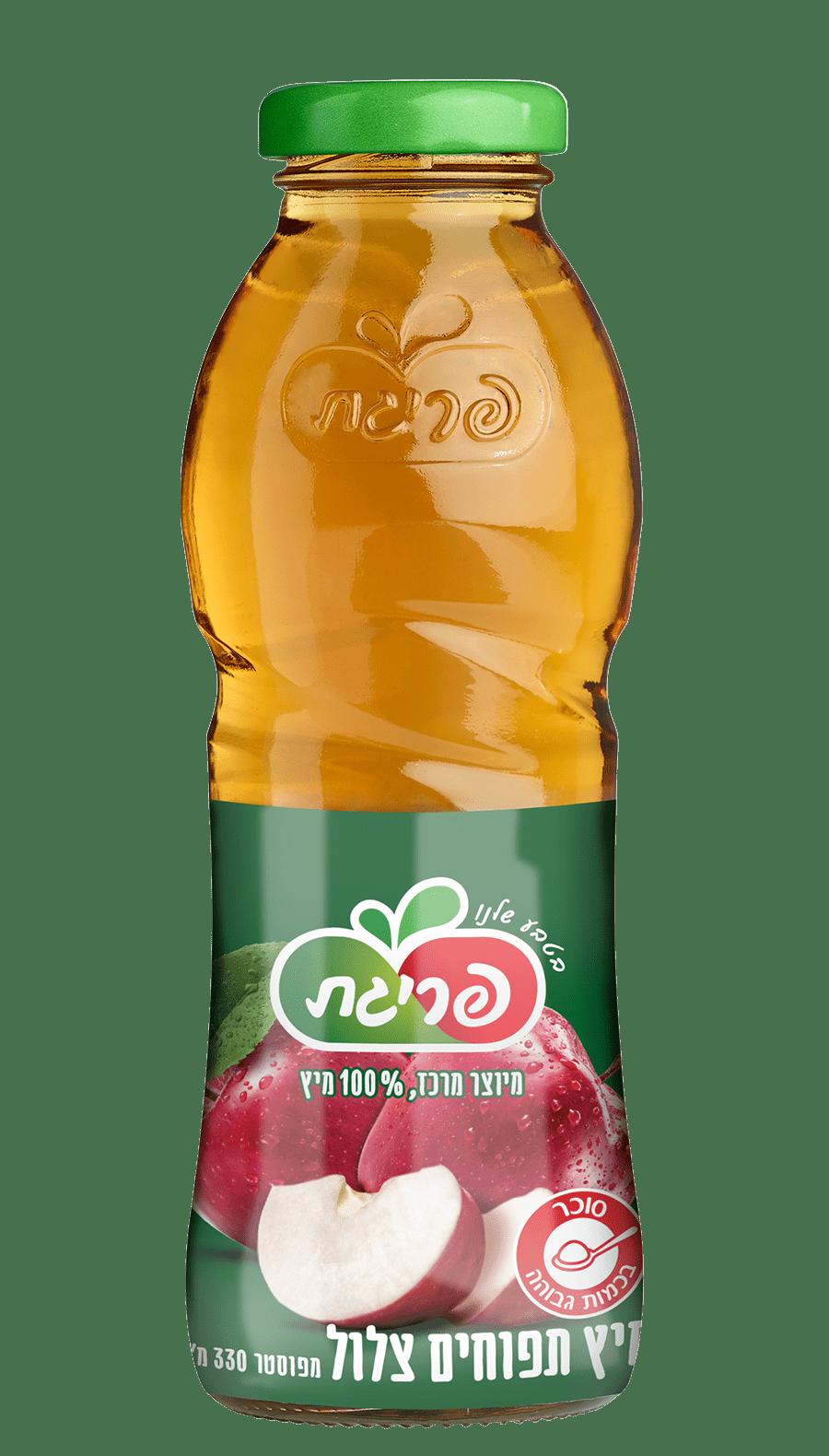 מיץ תפוחים צלול בבקבוק אישי
